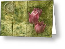 Pink Tulips And Old Clock Greeting Card