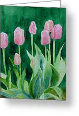 Pink Tulips Colorful Flowers Garden Art Original Watercolor Painting Artist K. Joann Russell Greeting Card