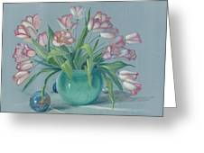 Pink Tulips In Green Vase Greeting Card