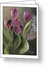 Pink Tulips Greeting Card by Nancy Edwards