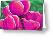 Pink Tulips On Green Greeting Card