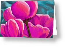 Pink Tulips On Teal Greeting Card
