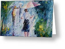 Pink Umbrella - Palette Knife Oil Painting On Canvas By Leonid Afremov Greeting Card
