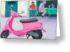Pink Vespa Greeting Card