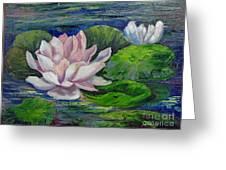 Pink Water Lilies By Barbara Haviland Greeting Card