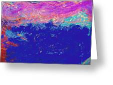 Pink Waves Above The Deep Blue Sea Greeting Card