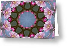 Pink Weeping Cherry Blossom Kaleidoscope Greeting Card