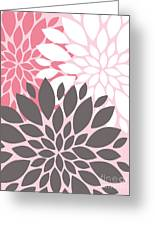 Pink White Grey Peony Flowers Greeting Card