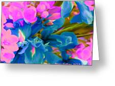 Pink With Blue Irises Greeting Card