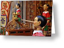 Pinocchio Inviting Tourists In Souvenirs Shop Greeting Card