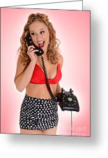 Pinup Girl On The Phone Greeting Card