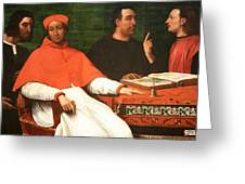 Piombo's Cardinal Bandinello Sauli And His Secretary And Two Geographers Greeting Card