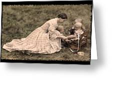 Pioneer Mother And Children Greeting Card