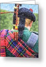 Piper In Red Macpherson Tartan Greeting Card