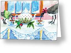 Pipers Sipping Christmas Tea Greeting Card
