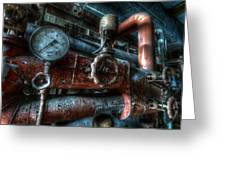 Pipes And Clocks Greeting Card