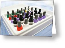 Pipette Bottles In Tray Used For Allergy Test Greeting Card