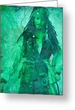 Pirate Johnny Depp - Shades Of Caribbean Green Greeting Card