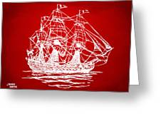 Pirate Ship Artwork - Red Greeting Card