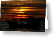 Pirate Ship At Sunset Greeting Card by Robert Bascelli