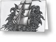 Pirate Ship Bw Greeting Card