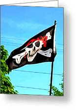 Pirate Ship Flag Of The Skull And Crossbones Greeting Card
