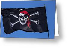 Pirate Skull Flag With Red Scarf Greeting Card