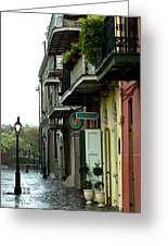 Pirates Alley In The Rain  Greeting Card