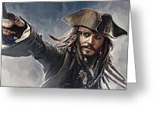 Pirates Of The Caribbean Johnny Depp Artwork 2 Greeting Card