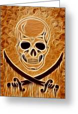 Pirates Skull Digtal Painting Greeting Card