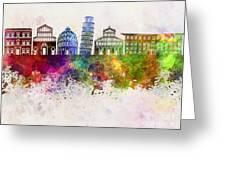 Pisa Skyline In Watercolor Background Greeting Card