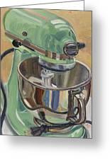 Pistachio Retro Designed Chrome Flour Mixer Greeting Card by Jennie Traill Schaeffer