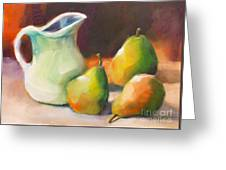 Pitcher And Pears Greeting Card by Michelle Abrams