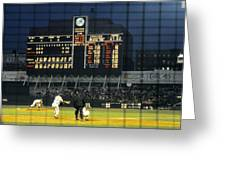 Pitching To A Hitter In Old Yankee Stadium Greeting Card by Retro Images Archive