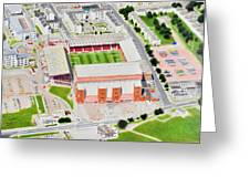 Pittodrie Stadia Art Greeting Card