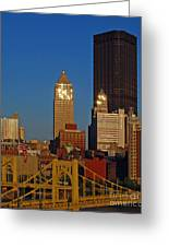 Pittsburg At Dusk Greeting Card