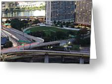 Pittsburgh Aerial Car Trails At Dusk 2 Greeting Card