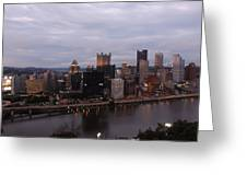 Pittsburgh Aerial Skyline At Dusk Greeting Card