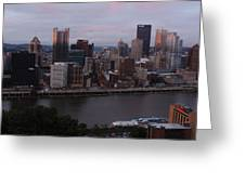 Pittsburgh Aerial Skyline At Sunset 3 Greeting Card