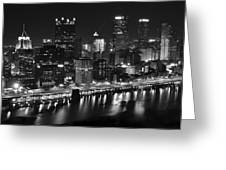 Pittsburgh Black And White Night Greeting Card