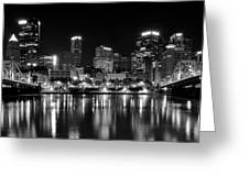 Pittsburgh Black And White Panorama Greeting Card