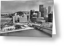 Pittsburgh Black And White Winter Panorama Greeting Card