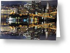 Pittsburgh Dusk Reflection 2 Greeting Card