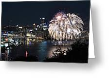 Pittsburgh Fireworks At Night Greeting Card