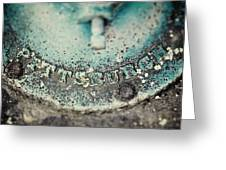 Pittsburgh In Teal Relief On A Vintage Water Pump Greeting Card