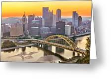 Pittsburgh Incline Sunrise Panorama Greeting Card