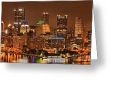Pittsburgh Lights Under Cloudy Skies Greeting Card