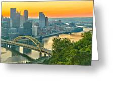 Pittsburgh Orange Skyline Greeting Card