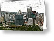 Pittsburgh Panorama Artistic Brush Greeting Card