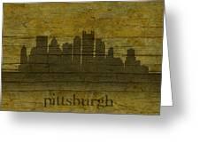 Pittsburgh Pennsylvania City Skyline Silhouette Distressed On Worn Peeling Wood Greeting Card